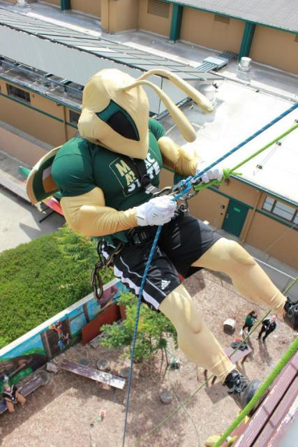 Mascot Herky on a rock climbing wall at the ropes course.
